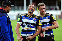 Dan Bowden of Bath Rugby has a laugh after the match. Pre-season friendly match, between the Scarlets and Bath Rugby on August 20, 2016 at Eirias Park in Colwyn Bay, Wales. Photo by: Patrick Khachfe / Onside Images