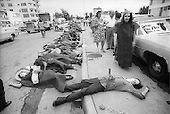 Miami, FL. August 23rd 1972. <br /> Outside of the 1972 30th Republican Convention, during President Richard Nixon's reelection campaign, demonstrators wearing costumes and makeup perform scenes of death and suffering in opposition to the Vietnam War. Several thousand Women's Lib protesters led by Jane Fonda, having just returned from her North Vietnam tour, and the Vietnam Veterans also protested. No clashes with police were reported.