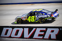 Sept. 19, 2008; Dover, DE, USA; Nascar Sprint Cup Series driver Jimmie Johnson during practice for the Camping World RV 400 at Dover International Speedway. Mandatory Credit: Mark J. Rebilas-