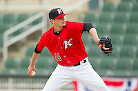 Kannapolis Intimidators starting pitcher Myles Jaye (14) in action against the Hickory Crawdads at CMC-Northeast Stadium on April 14, 2013 in Kannapolis, North Carolina.  The Intimidators defeated the Crawdads 6-0.  (Brian Westerholt/Four Seam Images)