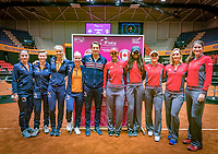 Den Bosch, The Netherlands, Februari 8, 2019,  Maaspoort , FedCup  Netherlands - Canada, Draw both teams Netherlands (L) and Canada<br /> Photo: Tennisimages/Henk Koster