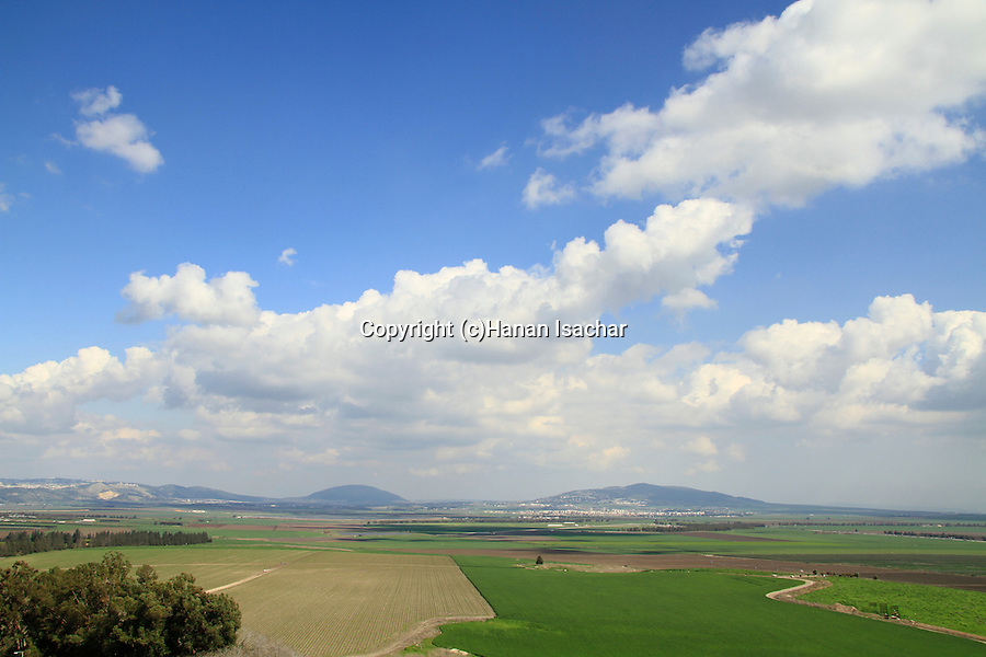 A view of Jezreel Valley from the biblical Tel Megiddo, Mount Tabor is in the background