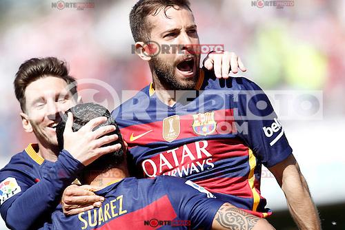 FC Barcelona's Leo Messi, Luis Suarez and Jordi Alba celebrate goal during La Liga match. May 14,2016. (ALTERPHOTOS/Acero) /NortePhoto.com