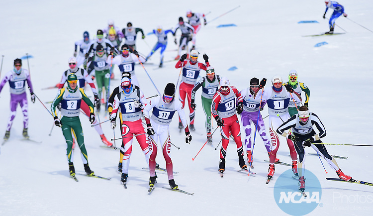 FRANCONIA, NH - MARCH 11:   Athletes approach a hill during the second lap of the Men's 20K Freestyle event at the Division I Men's and Women's Skiing Championships held at Jackson Ski Touring on March 11, 2017 in Jackson, New Hampshire. (Photo by Gil Talbot/NCAA Photos via Getty Images)