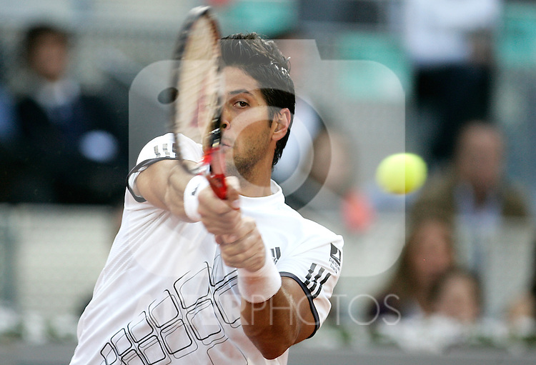 Spain's Fernando Verdasco during his Madrid Open quarter final match. May 15, 2009. (ALTERPHOTOS/Alvaro Hernandez)