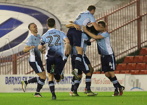 17th January 2017, Oakwell, Barnsley, South Yorkshire, England; FA Cup 3rd round replay, Barnsley versus Blackpool; Blackpool's Kelvin Mellor celebrates with team mates after making it 0-1