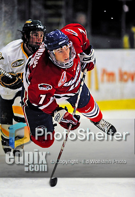 21 February 2009: University of Massachusetts Lowell River Hawks' defenseman Maury Edwards, a Sophomore from Rocky Rapids, Alberta, in action against the University of Vermont Catamounts at Gutterson Fieldhouse in Burlington, Vermont. The River Hawks shut out the Catamounts 1-0. Mandatory Photo Credit: Ed Wolfstein Photo