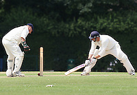 A Churchill of GPR looks on anxiously as the ball rolls close to the stumps - Upminster CC vs Gidea Park & Romford CC - Essex Cricket League at Upminster Park - 27/06/09- MANDATORY CREDIT: Gavin Ellis/TGSPHOTO - Self billing applies where appropriate - 0845 094 6026 - contact@tgsphoto.co.uk - NO UNPAID USE.