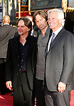 """Writer/Producer Frank Spotnitz, Actor David Duchovny and  Director/Creator Chris Carter arrive at the The World Premiere of """"The X-Files: I Want To Believe"""" at Mann's Grauman Chinese Theatre on July 23, 2008 in Hollywood, California."""