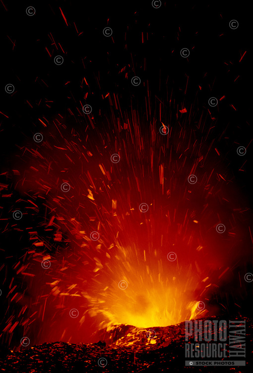 Exploding lava, Kilauea Volcano, Big Island