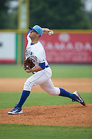 Burlington Royals relief pitcher Chase Darhower (28) delivers a pitch to the plate against the Bluefield Blue Jays at Burlington Athletic Park on July 1, 2015 in Burlington, North Carolina.  The Royals defeated the Blue Jays 5-4. (Brian Westerholt/Four Seam Images)