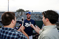 20 September 2012: Eric Gagne talks to journalists prior to Spain 8-0 win over France, at the 2012 World Baseball Classic Qualifier round, in Jupiter, Florida, USA.