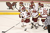 The Eagles celebrate Andrea Green (BC - 21) goal which made it 2-0 BC. - The Boston College Eagles defeated the visiting Brown University Bears 5-2 on Sunday, October 24, 2010, at Conte Forum in Chestnut Hill, Massachusetts.