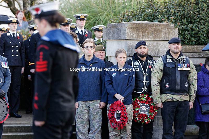Pictured: Young cadets and locals during the service. Sunday 11 November 2018<br /> Re: Commemoration for the 100 years since the end of the First World War on Remembrance Day at the Swansea Cenotaph in south Wales, UK.