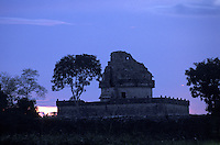 El Caracol, the Mayan astronomical observatory, at sunset. Chichen Itza, Yucatan, Mexico.