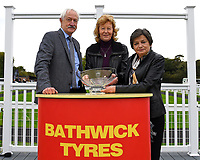 Connections of George William receive their trophy for winning The British Stallion Studs EBF Bathwick Tyres Conditions Stakes during Bathwick Tyres Reduced Admission Race Day at Salisbury Racecourse on 9th October 2017