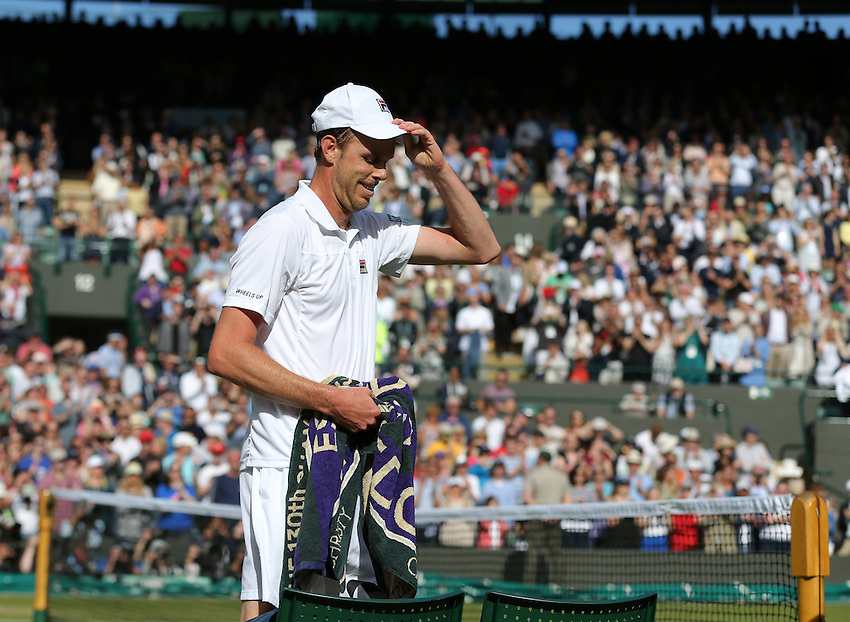 Sam Querrey of USA leaves the court after his victory over Novak Djokovic of Serbia in their Gentlemen's Singles Third Round match today<br /> <br /> Photographer Stephen White/CameraSport<br /> <br /> Tennis - Wimbledon Lawn Tennis Championships - Day 6 - Saturday 2nd July 2016 -  All England Lawn Tennis and Croquet Club - Wimbledon - London - England<br /> <br /> World Copyright &copy; 2016 CameraSport. All rights reserved. 43 Linden Ave. Countesthorpe. Leicester. England. LE8 5PG - Tel: +44 (0) 116 277 4147 - admin@camerasport.com - www.camerasport.com