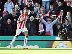 Stoke's Maxim Choupo-Moting celebrates scoring his sides opening goal during the premier league match at the Britannia Stadium, Stoke on Trent. Picture date 9th September 2017. Picture credit should read: David Klein/Sportimage