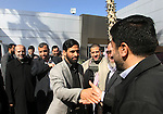 Deputies of the Palestinian legislative council, Salah al-Bardawil, Mushir al-Masri, and Ismail Ashqar while their arrival at Rafah Crossing of the Palestinian legislative council, Salah al-Bardawil, Mushir al-Masri, and Ismail Ashqar while their arrival at Rafah Crossing in the southern Gaza Strip, on Feb. 16, 2013. Bulgarian security ordered them to leave the country before the end of the five-day visit. They said Israeli pressure was behind the move, and noted that they entered the country officiall. Photo by Eyad Al Baba