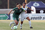 24 June 2009: Lori Chalupny (left) of Saint Louis Athletica shields the ball from Stephanie Cox (14) of the Los Angeles Sol.  Saint Louis Athletica was defeated by the visiting Los Angeles Sol 1-2 in a regular season Women's Professional Soccer game at AB Soccer Park, in Fenton, MO.