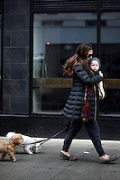 www.acepixs.com<br /> February, 2017 New York City<br /> <br /> Hilaria Baldwin was seen walking her dogs with her baby, Leonardo &Aacute;ngel Charles Baldwin on February 8, 2017 in New York City.<br /> <br /> Credit: Kristin Callahan/ACE Pictures<br /> <br /> <br /> Tel: 646 769 0430<br /> e-mail: info@acepixs.com
