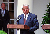 President Boris Yeltsin of the Russian Federation, makes remarks as he and United States President George H.W. Bush announce an arms control agreement that will eliminate all of Russia's most powerful SS-18 multiple warhead missiles, in the Rose Garden of the White House in Washington, D.C. on June 16, 1992.  After making their statements the presidents took questions from the media.<br /> Credit: Ron Sachs / CNP