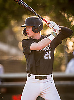 Harvard-Westlake Wolverines Pete Crow-Armstrong (21) bats during a High School baseball game on February 26, 2020 in Huntington Beach, California.  (Terry Jack/Four Seam Images)