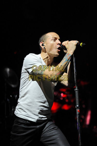 LONDON, ENGLAND - NOVEMBER 23: Chester Bennington of 'Linkin Park'  performing at the o2 Arena on November 23, 2014 in London, England.<br /> CAP/MAR<br /> &copy; Martin Harris/Capital Pictures