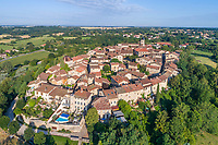 France, Ain, Perouges, medieval city, labelled Les Plus Beaux Villages de France (The Most Beautiful Villages of France), general view (aerial view) // France, Ain (01), Pérouges, cité médiévale, labellisé Les Plus Beaux Villages de France, vue générale (vue aérienne)