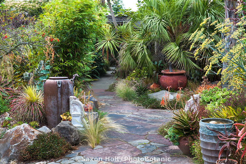 Stone path leading into California garden entry with drought tolerant foliage plants with pots as accent focal points; Sherry Merciari garden