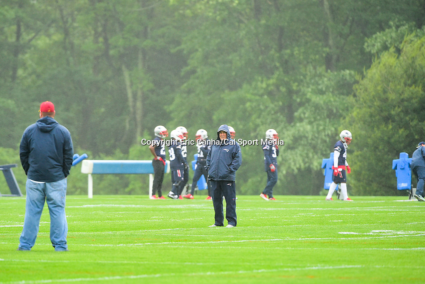 June 6, 2017: New England Patriots head coach Bill Belichick watches over the team at the New England Patriots mini camp held on the practice field at Gillette Stadium, in Foxborough, Massachusetts. Eric Canha/CSM