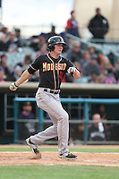 Jordan Patterson (10) of the Modesto Nuts bats during a game against the Lancaster JetHawks at The Hanger on April 25, 2015 in Lancaster, California. Lancaster defeated Modesto, 5-4. (Larry Goren/Four Seam Images)