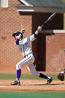 Chris Clare (9) of the High Point Panthers follows through on a solo home run against the LIU-Brooklyn Blackbirds at Willard Stadium on March 8, 2015 in High Point, North Carolina.  The Panthers defeated the Blackbirds 9-0.  (Brian Westerholt/Four Seam Images)