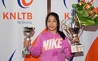 March 15, 2015, Netherlands, Rotterdam, TC Victoria, NOJK, Winner girls 14 years Lian Tran<br /> Photo: Tennisimages/Henk Koster