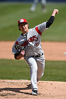 Carolina Mudcats pitcher Shawn Morimando (25) delivers a pitch during a game against the Frederick Keys on April 26, 2014 at Harry Grove Stadium in Frederick, Maryland.  Carolina defeated Frederick 4-2.  (Mike Janes/Four Seam Images)