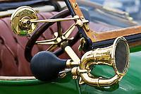 Bulb horn on vintage 1912 Renault car, Gloucestershire, United Kingdom