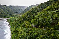 Aerial view of Honomanu Bay on the winding road to Hana, Maui.