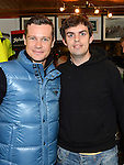 Ross Ward pictured with Fifth overall and a stage winner in the Vuelta a Espana (Tour of Spain) Nicolas Roche when he paid a visit to Quay Cycles Drogheda. Photo:Colin Bell/pressphotos.ie