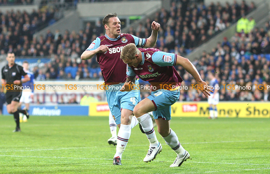 Jack Collison scores the 1st goal for West Ham and celebrates with Kevin Nolan - Cardiff City vs West Ham United, npower Championship Play-off Semi-Final 1st Leg at The Cardiff City Stadium, Cardiff - 03/05/12 - MANDATORY CREDIT: Rob Newell/TGSPHOTO - Self billing applies where appropriate - 0845 094 6026 - contact@tgsphoto.co.uk - NO UNPAID USE..