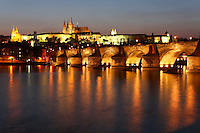 Charles Bridge and Prague Castle at Twilight, Prague, Czech Republic