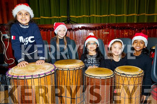 Giving a beat to the Presentation Primary School, Tralee, Christmas concert last Wednesday Dec 11, in the school hall were Raheel Elders, Adalia Ajish, Aliza&Isha Irfan and Resa Sopjani.