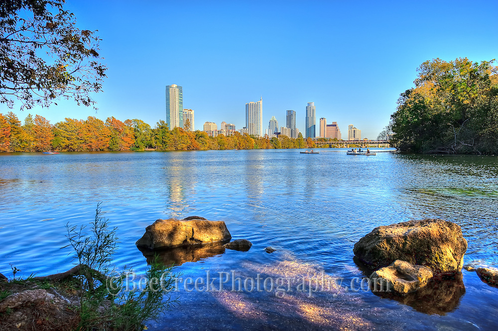 Austin Texas as seen from hike and bike trail on town lake.