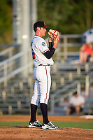 Danville Braves starting pitcher Joey Wentz (16) looks to his catcher for the sign against the Pulaski Yankees at American Legion Post 325 Field on August 1, 2016 in Danville, Virginia.  The Yankees defeated the Braves 4-1.  (Brian Westerholt/Four Seam Images)