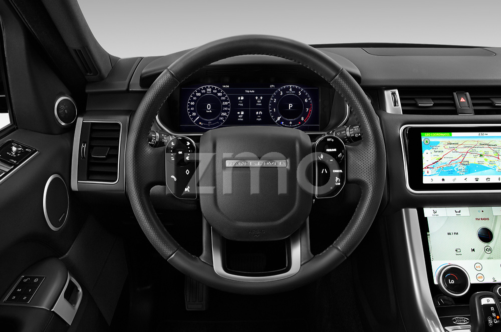 Car pictures of steering wheel view of a 2020 Land Rover Range-Rover-Sport HSE-PHEV 5 Door SUV Steering Wheel