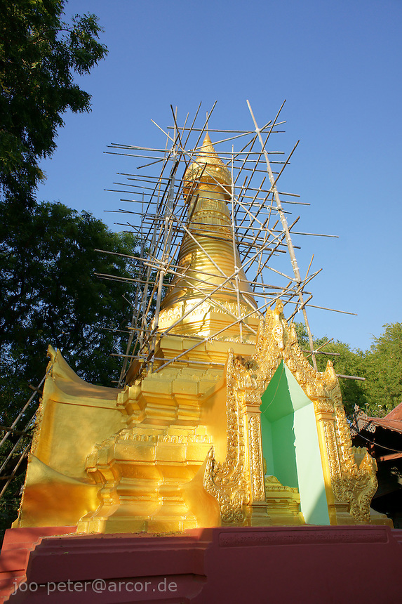 stupa in process of restauration, Mandalay hill Pagoda complex , Mandalay, Myanmar, 2011