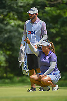 Lizette Salas (USA) lines up her putt on 1 during round 4 of the U.S. Women's Open Championship, Shoal Creek Country Club, at Birmingham, Alabama, USA. 6/3/2018.<br /> Picture: Golffile | Ken Murray<br /> <br /> All photo usage must carry mandatory copyright credit (&copy; Golffile | Ken Murray)