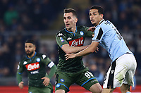 11th January 2020; Stadio Olympico, Rome, Italy; Serie A Football, Lazio versus Napoli; Arkadiusz Milik of Napoli and Luis Felipe of Lazio grapple with each other as they await the crossed ball - Editorial Use