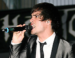 """HOLLYWOOD, CA. - September 16: Brendon Urie of Panic at the Disco performs at """"Jennifer's Body"""" Hot Topic Fan Event at Hot Topic on September 16, 2009 in Hollywood, California."""