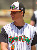 GREEN BAY - June 2015: Green Bay Bullfrogs infielder Jack Strunc (9) during a Northwoods League game against the Kenosha Kingfish on June 21st, 2015 at Joannes Park in Green Bay, Wisconsin. Green Bay defeated Kenosha 10-7. (Brad Krause/Krause Sports Photography)