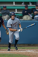 Danny Dorn of the Cal State Fullerton Titans bats during a 2004 season game against the Loyola Marymount Lions at Loyola Marymount in Los Angeles, California. (Larry Goren/Four Seam Images)